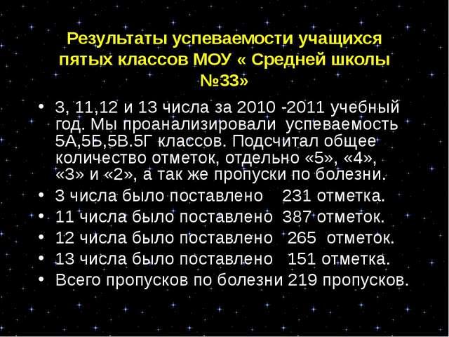 Результаты успеваемости учащихся пятых классов МОУ « Средней школы №33» 3, 11...