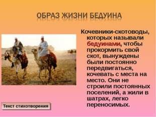Кочевники-скотоводы, которых называли бедуинами, чтобы прокормить свой скот,
