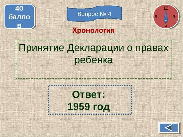 Принятие Декларации о правах ребенка 40 баллов Ответ: 1959 год 12 3 6 Вопрос...