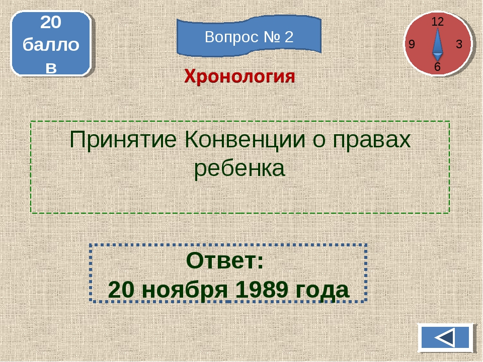 Принятие Конвенции о правах ребенка 20 баллов Ответ: 20 ноября 1989 года 12 3...