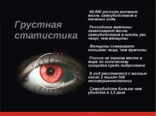 60.000 россиян кончают жизнь самоубийством в течении года Российские мужчины