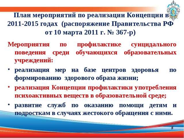 План мероприятий по реализации Концепции в 2011-2015 годах (распоряжение Прав...