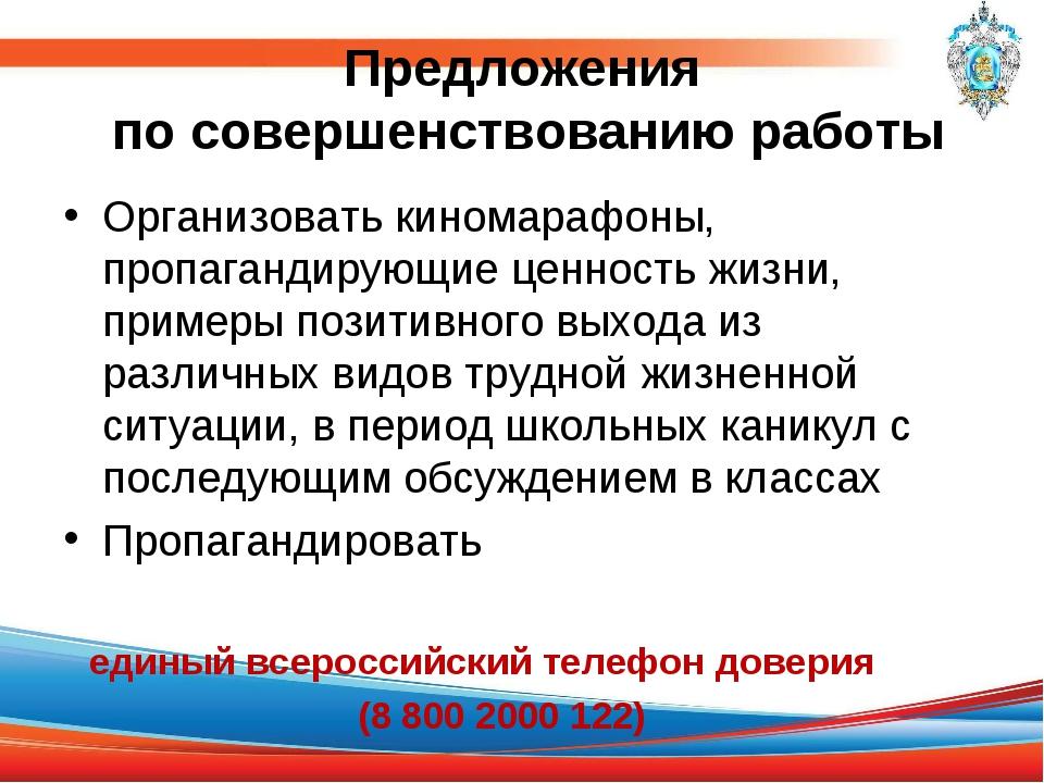 Предложения по совершенствованию работы Организовать киномарафоны, пропаганди...