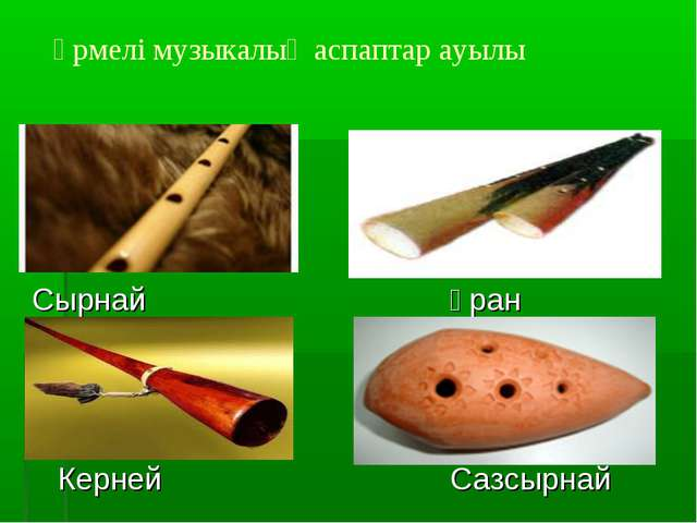 Үрмелі музыкалық аспаптар ауылы СырнайҰран КернейСазсырнай