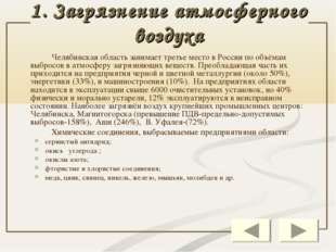 1. Загрязнение атмосферного воздуха Челябинская область занимает третье мес
