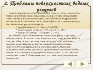 2. Проблемы поверхностных водных ресурсов Одна из острейших проблем Челябинск