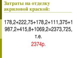Затраты на отделку акриловой краской: 178,2+222,75+178,2+111,375+1987,2+415,8