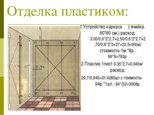 Отделка пластиком: 1.Устройство каркаса ( ячейка 60*60 см.) расход: 3,00/0,6*