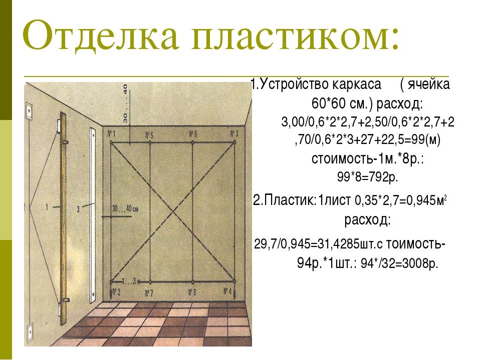Отделка пластиком: 1.Устройство каркаса ( ячейка 60*60 см.) расход: 3,00/0,6*...