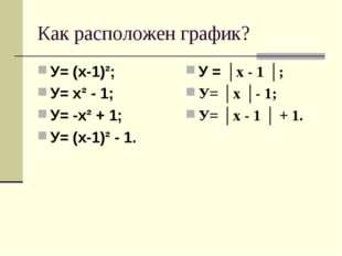 Как расположен график? У= (х-1)²; У= х² - 1; У= -х² + 1; У= (х-1)² - 1. У = │