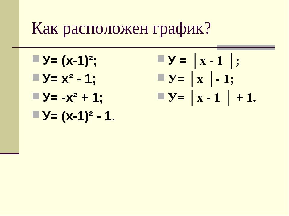 Как расположен график? У= (х-1)²; У= х² - 1; У= -х² + 1; У= (х-1)² - 1. У = │...