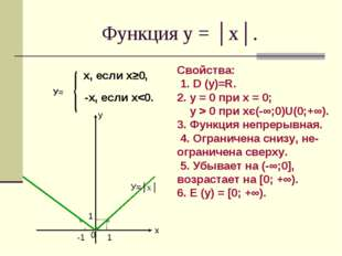 Функция у = │х│. х, если х≥0, -х, если х 0 при хє(-∞;0)U(0;+∞). 3. Функция не
