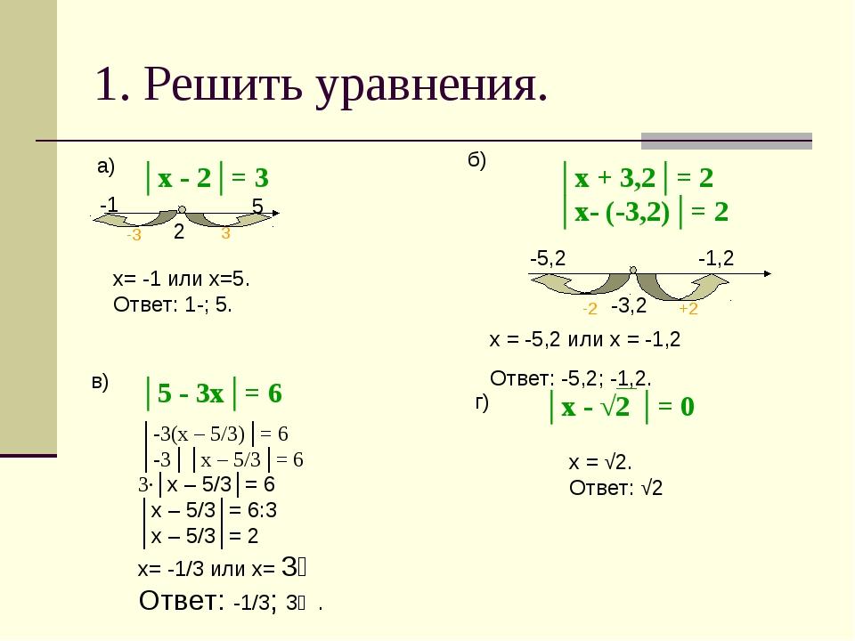 1. Решить уравнения. │х - 2│= 3 2 3 5 -3 -1 х= -1 или х=5. Ответ: 1-; 5. а) б...