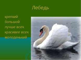 Лебедь крепкий большой лучше всех красивее всех молоденький