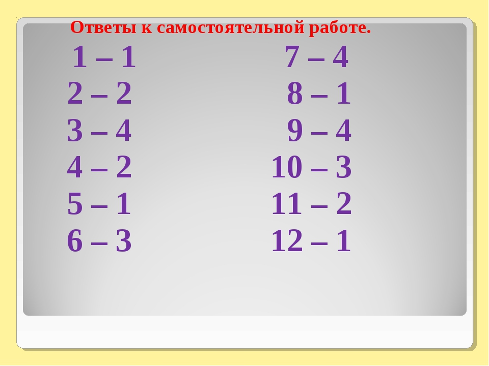 Ответы к самостоятельной работе. 1 – 1 7 – 4 2 – 2 8 – 1 3 – 4 9 – 4 4 – 2 10...