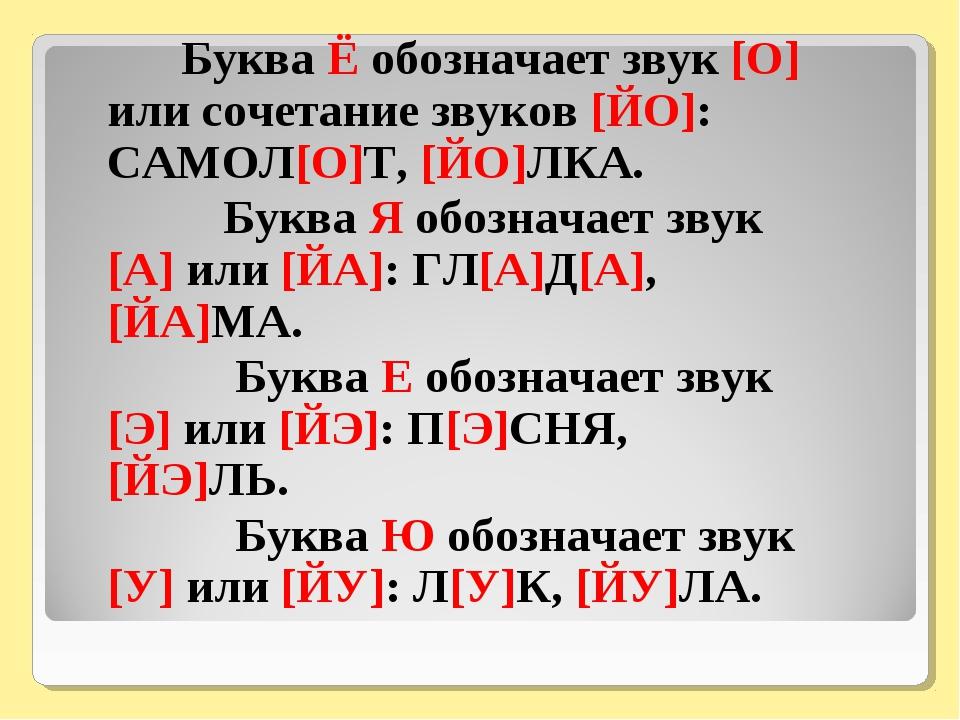 Буква Ё обозначает звук [О] или сочетание звуков [ЙО]: САМОЛ[О]Т, [ЙО]ЛКА. Б...