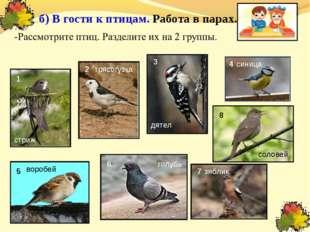 б) В гости к птицам. Работа в парах. 1 2 8 5 6 7 3 4 синица голубь воробей д