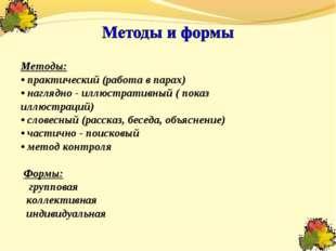 Методы: • практический (работа в парах) • наглядно - иллюстративный ( показ и