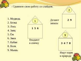1. Медведь 2. Белка 3. Лось 4. Заяц 5. Ёж 6. Змея 7. Кабан 8. Волк 9. Мышь 2