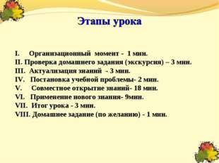 Организационный момент - 1 мин. Проверка домашнего задания (экскурсия) – 3 м