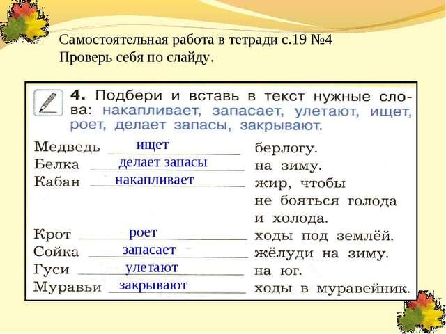 Самостоятельная работа в тетради с.19 №4 Проверь себя по слайду. ищет запасае...