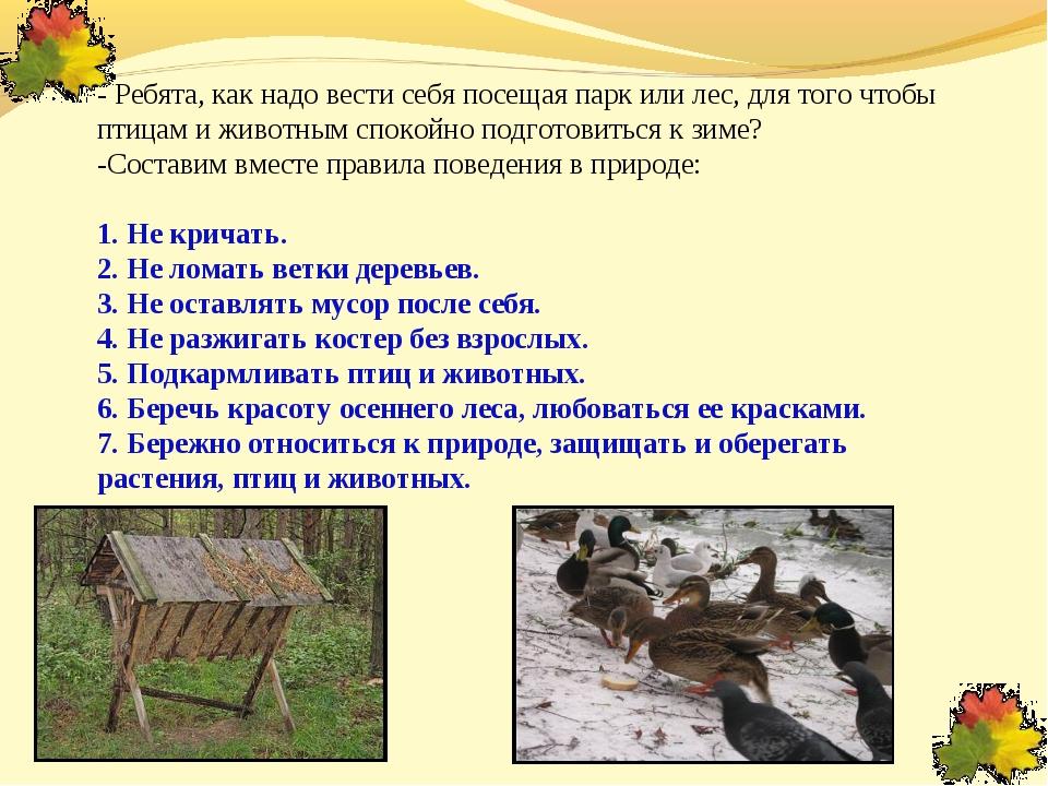 - Ребята, как надо вести себя посещая парк или лес, для того чтобы птицам и...