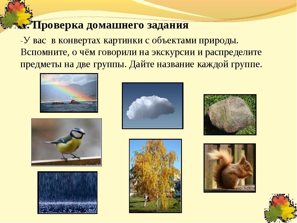 II. Проверка домашнего задания -У вас в конвертах картинки с объектами природ...