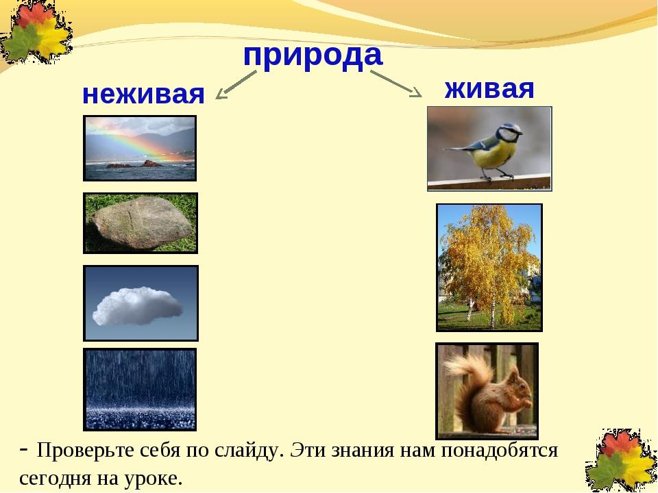 живая природа неживая - Проверьте себя по слайду. Эти знания нам понадобятся...