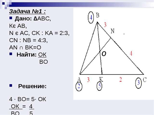 Задача №1 : Дано: ∆АВС, Кє АВ, N є AC, CK : KA = 2:3, CN : NB = 4:3, AN ∩ BK=...