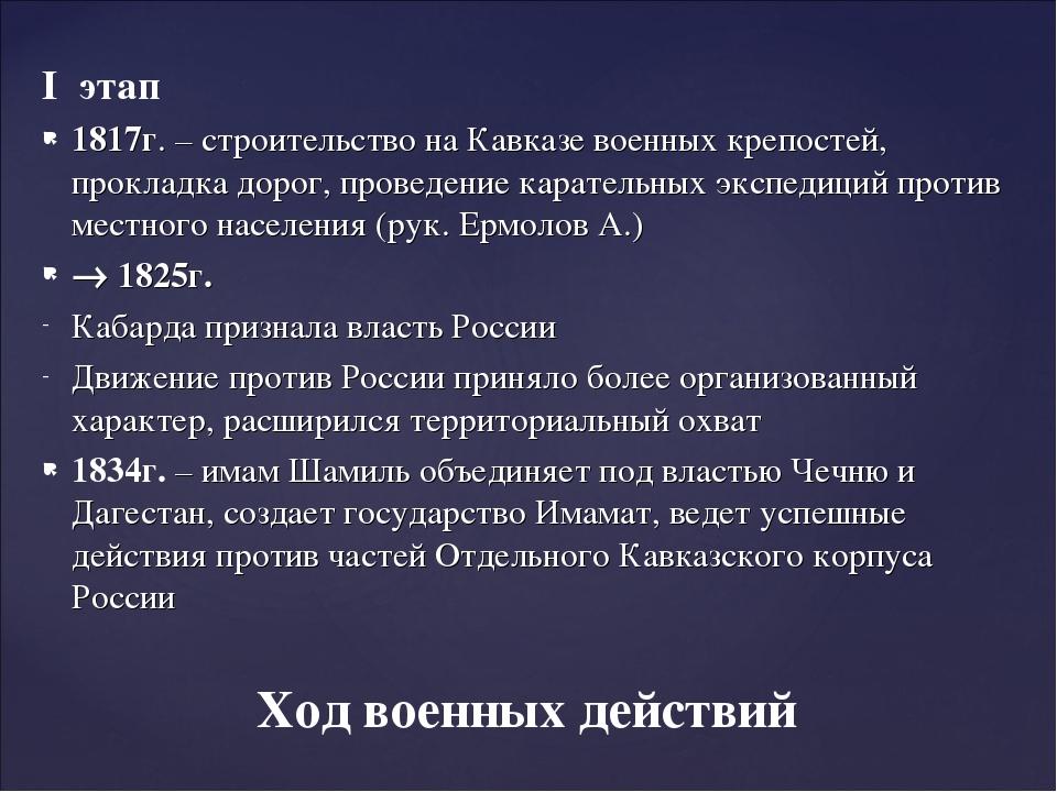I этап 1817г. – строительство на Кавказе военных крепостей, прокладка дорог,...