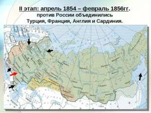 II этап: апрель 1854 – февраль 1856гг. против России объединились Турция, Фра