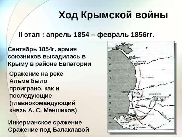 Ход Крымской войны II этап : апрель 1854 – февраль 1856гг. Сентябрь 1854г. ар...