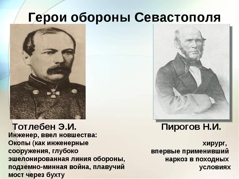 Тотлебен Э.И. Инженер, ввел новшества: Окопы (как инженерные сооружения, глуб...