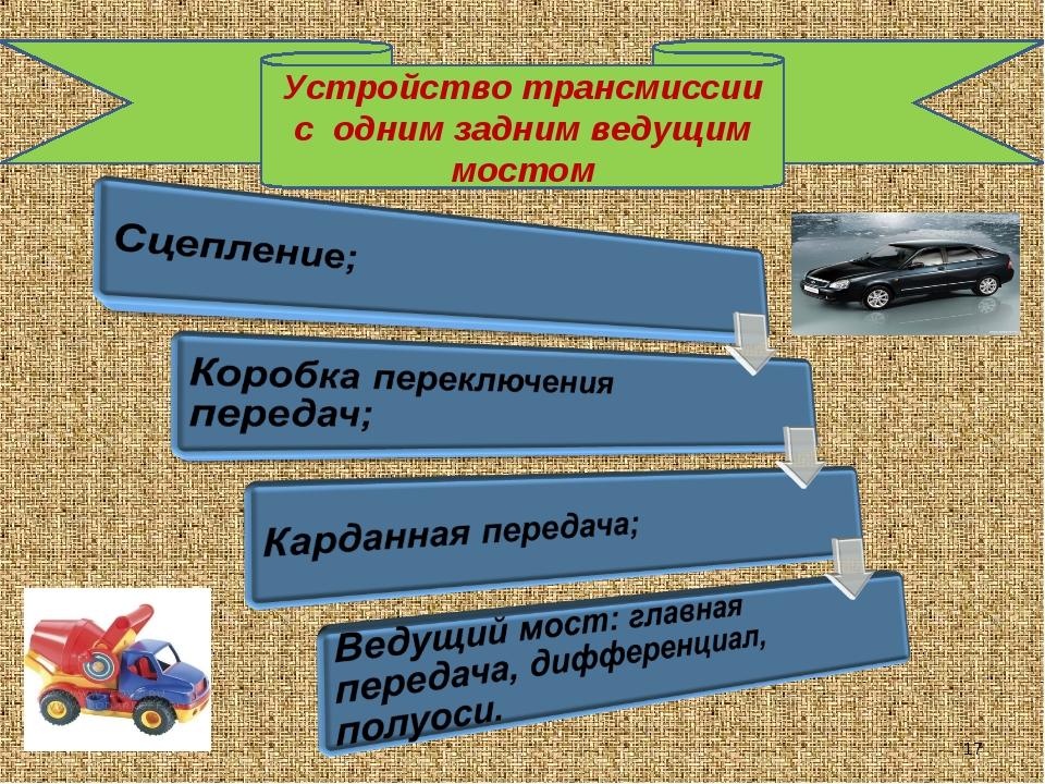 Устройство трансмиссии с одним задним ведущим мостом *