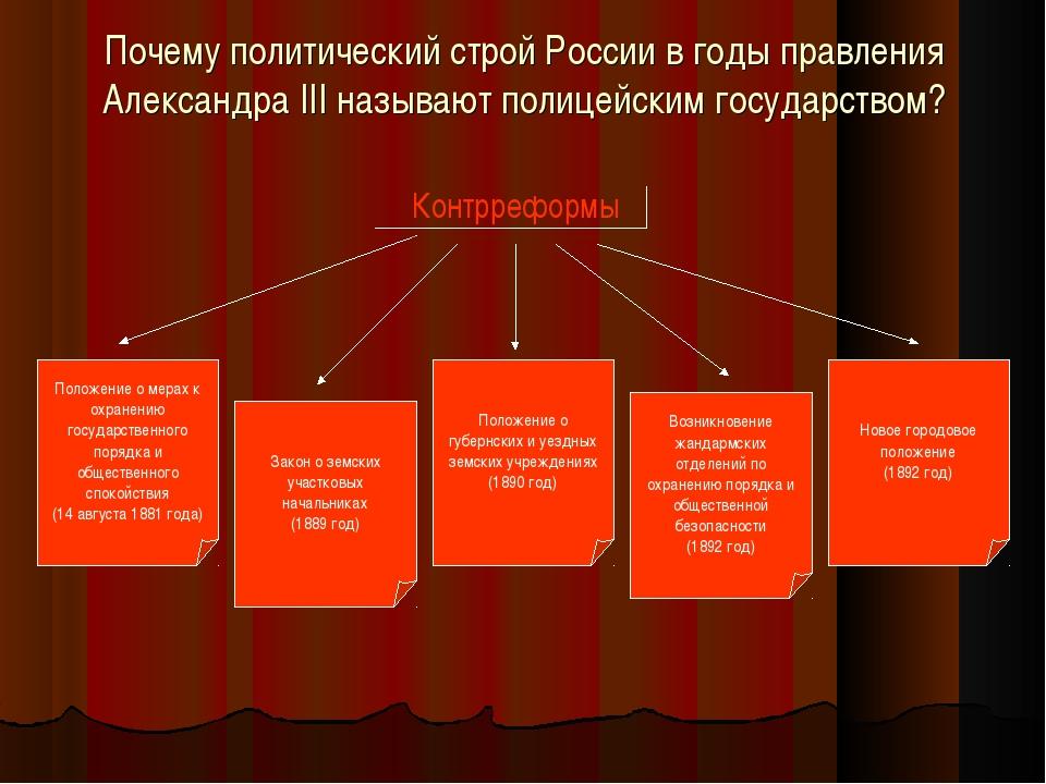 Почему политический строй России в годы правления Александра III называют пол...