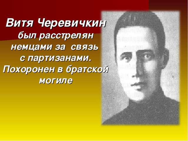 Витя Черевичкин был расстрелян немцами за связь с партизанами. Похоронен в бр...