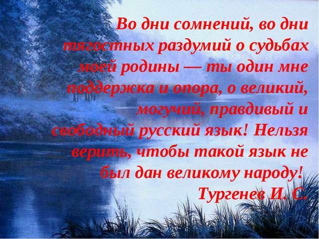 Во дни сомнений, во дни тягостных раздумий о судьбах моей родины — ты один мн...