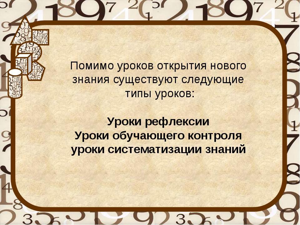 Помимо уроков открытия нового знания существуют следующие типы уроков: Уроки...