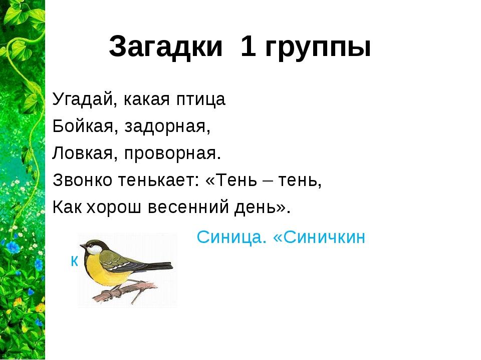 Загадки 1 группы Угадай, какая птица Бойкая, задорная, Ловкая, проворная. Зво...