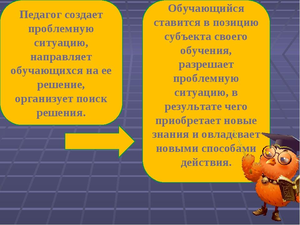 Педагог создает проблемную ситуацию, направляет обучающихся на ее решение, ор...