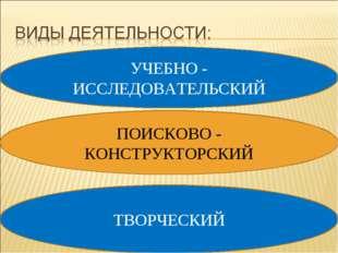 УЧЕБНО - ИССЛЕДОВАТЕЛЬСКИЙ ПОИСКОВО - КОНСТРУКТОРСКИЙ ТВОРЧЕСКИЙ