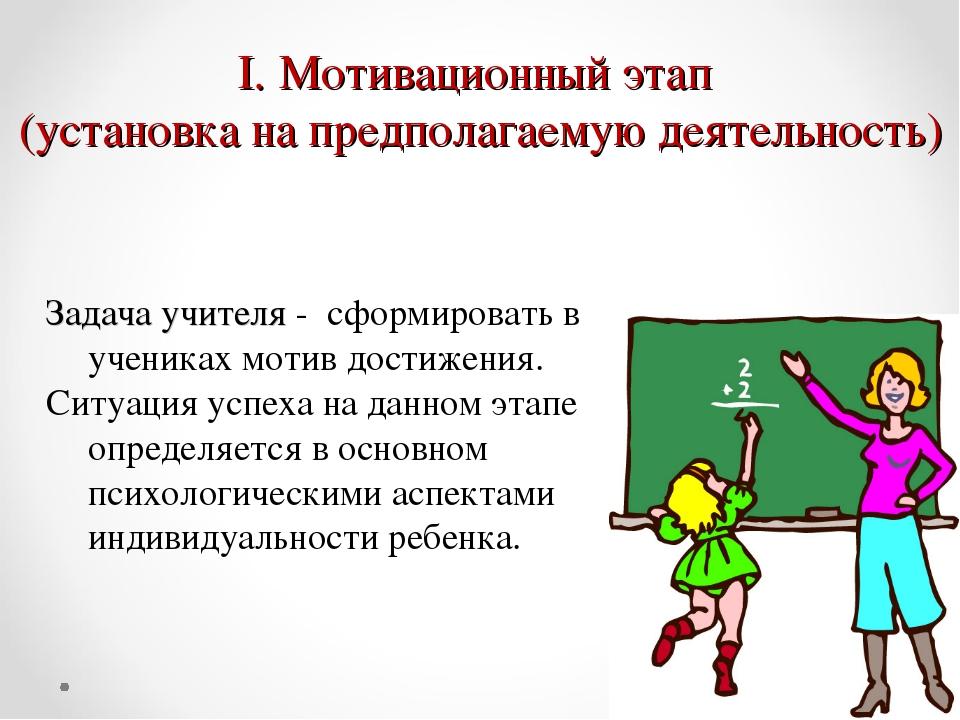 Мотивационный этап (установка на предполагаемую деятельность) Задача учителя...