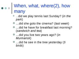 When, what, where(2), how many …did we play tennis last Sunday? (in the park)