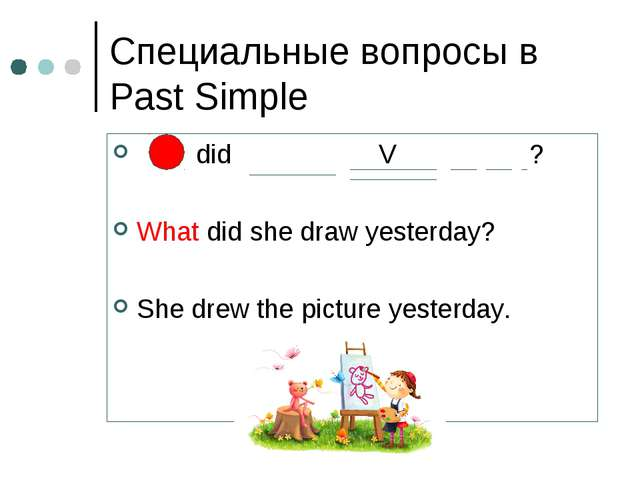 Специальные вопросы в Past Simple did V ? What did she draw yesterday? She dr...