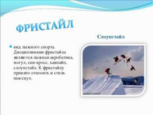 Слоупстайл вид лыжного спорта. Дисциплинами фристайла являются лыжная акробат