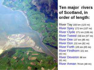 Ten major rivers of Scotland, in order of length: River Tay 193 km (120 mi)