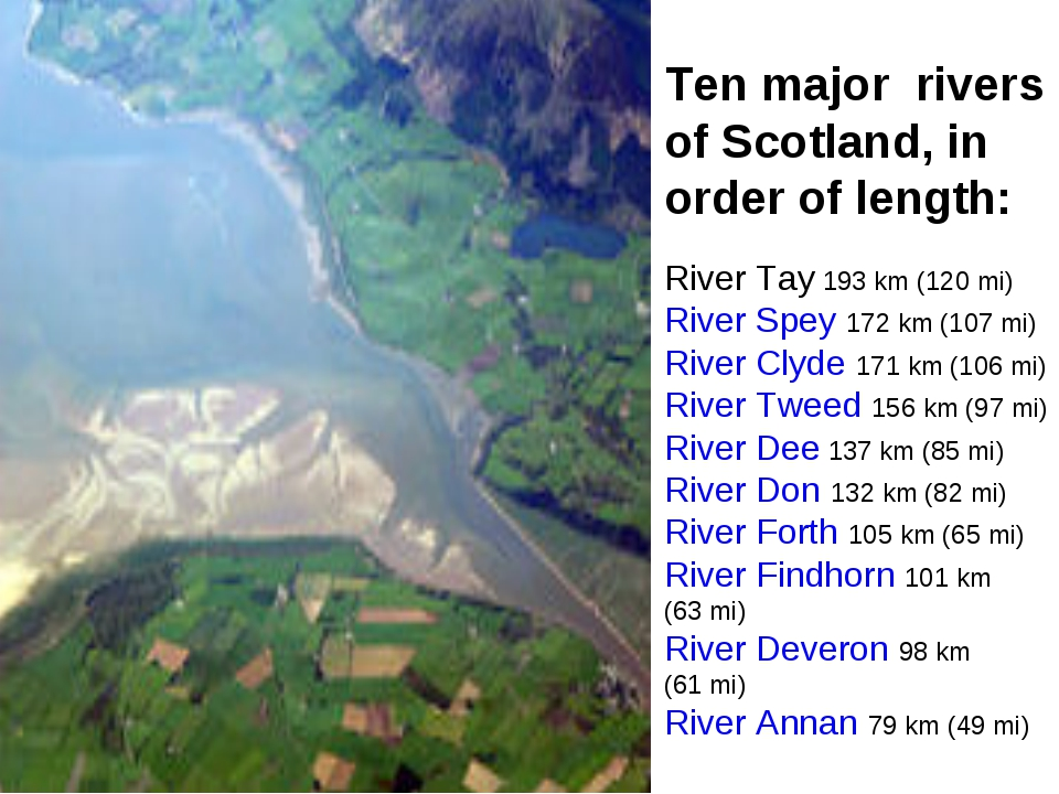 Ten major rivers of Scotland, in order of length: River Tay 193 km (120 mi)...