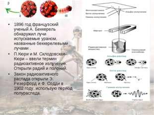 1896 год французский ученый А. Беккерель обнаружил лучи испускаемые ураном, н