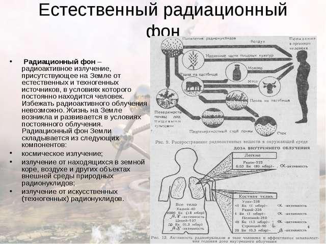 Естественный радиационный фон Радиационный фон – радиоактивное излучение, пр...