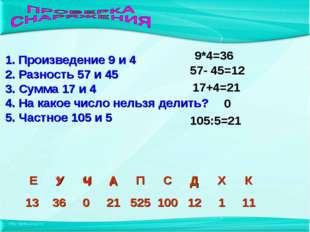 А 1. Произведение 9 и 4 2. Разность 57 и 45 3. Сумма 17 и 4 4. На какое число